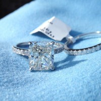 Have You Seen the Ring?: BRAND NEW - 2.52 I VVS1 Cushion cut Ring set GIA center 3.52 Total