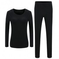 Women Fashion Casual Solid Warm Thermal Underwear Top Pants Long Pajamas Set