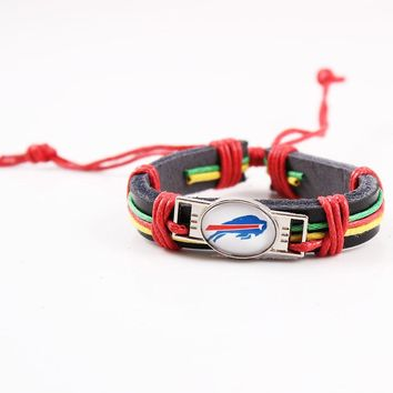 6pcs/lot America Football Team Buffalo Bills Charms Leather Bracelet Real Leather Bracelets & Bangles Jewelry For Sport Fan