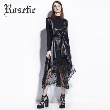 Gothic Coat Asymmetric Black Leather Fashion Women Fall Goth Overcoat Tops Not Include Skirt Dark Trench Gothics Coat