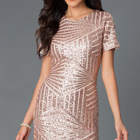 Short Sleeve Sequin Party Dress - MYM2048