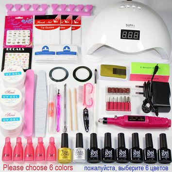 UV LED  nail dryer lamp UV Gel  nail set Lacquer Manicure Tool kit Set Select 6 Colors Gel varnish  Manicure Handle Set