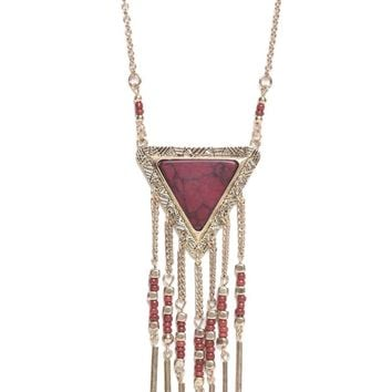 With Love From CA Triangle Chain Tassel Necklace - Womens Jewelry - Red - NOSZ