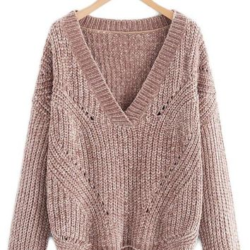 V-Neck Thick Knit Ultra Soft Sweater