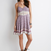 Crochet-Paneled Paisley Babydoll Dress