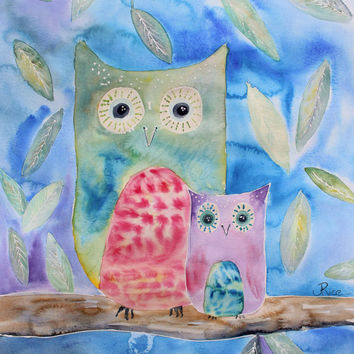 Owl painting, Owl Nursery, Woodland Art, Baby Owl, Owl Nursery Decor, Mama and Baby Owl, Owl Decor, Watercolor Print, 8x10, Art for Nursery
