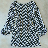Black & White Chevron Dress : Vintage Inspired Clothing & Affordable Dresses, deloom | Modern. Vintage. Crafted.