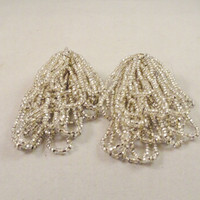 Vintage Earrings 70s 80s Silver Beaded Dripping Disco