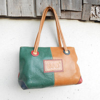 Vintage LAND Leather Tote , Shoulder Bag // Small