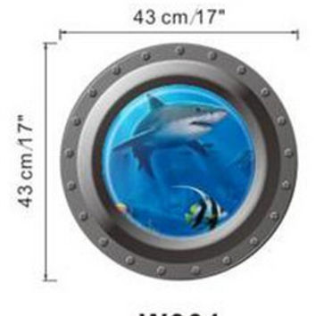 Fantastic submarine portholes Wall Sticker home decorations kids sealife coral shark fish boat scuttles decals mural art nursery SM6
