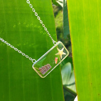 Starfish Sea Urchin Sunrise Shell chip, clear, see through Rectangle Necklace, resin necklace