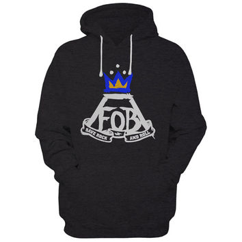 New Fob save rock and roll Hoodie sweatshirt Black | Sport grey colour