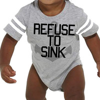 REFUSE TO SINK Infant Football Jersey Bodysuit | Baby Gifts | Anchor Onesuit Baby Boy Bodysuit Infant Never Give Up