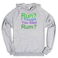 thought you said rum-Unisex Heather Grey Hoodie