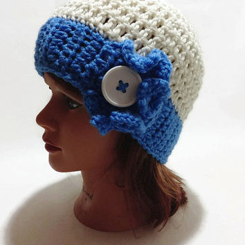 Crochet Ruffle button Cloche Beanie in Cream and Blue