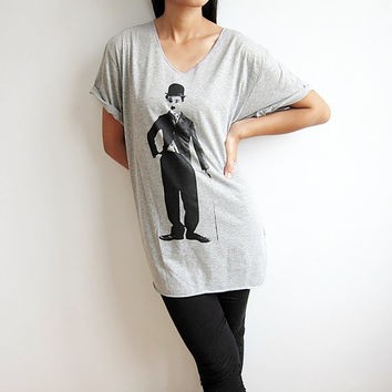 Charlie Chaplin Shirt Women Neck T Shirt Size XL