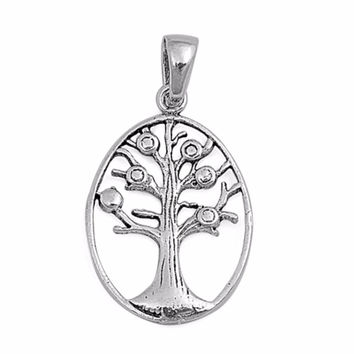 """Sterling Silver Tree of Life Wicca Pendant 23MM (FREE 18"""" Chain)"""