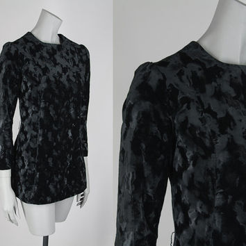 SALE Vintage 60s Tunic / 1960s Black Crushed Velvet Long Sleeve Tunic Top XS S