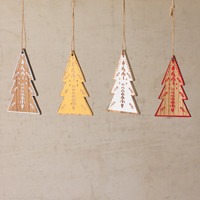 Set of 16 Wooden Tree Christmas Ornament- 4 Each Color
