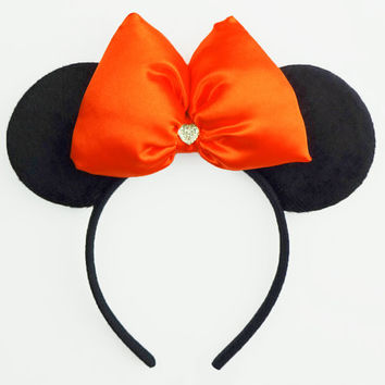 Minnie Mouse Ears Orange Mickey Mouse Ears Halloween Minnie Ears Pumpkin Mickey Ears Halloween Minnie Mouse Bow Ears Headband Costume Cute