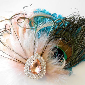 Wedding Feather Hair Accessories, Feather Fascinator, Bridal, Hair Piece, Peacock, Peach, Teal, Ivory, Apricot, Hair Clip