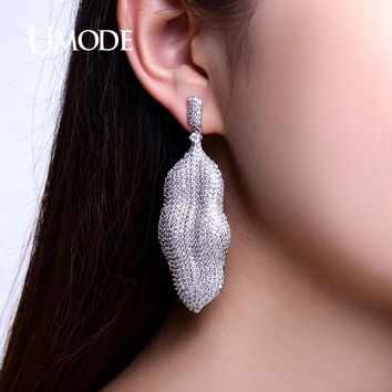 UMODE Leaf Shaped Paved Micro CZ White Gold Color Big Party Drop Earrings for Women Peanut Shell Pendientes Brincos UE0202