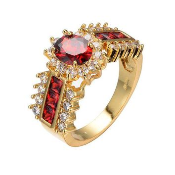 DCCKV2S UOKOHO 2017 New Arrival Red Jewelry Red Zircon Rings for Women & Men Engagement Band 10KT Yellow Gold Filled Crystal Wedding Ring