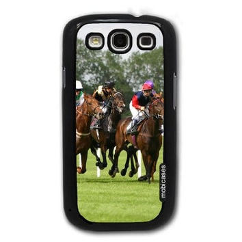 Horse Race with Jockeys - Protective Designer BLACK Case - Fits Samsung Galaxy S3 SIII i9300