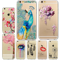 Phone Case Cover For Iphone 5 5s Se 6 6s Plus 6plus Soft Tpu Silicon Transparent Feather Flowers Printed