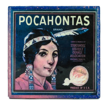 Handmade Coaster Pocahontas Brand - Vintage Citrus Crate Label - Handmade Recycled Tile Coaster