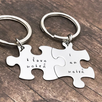 I am weird I love weird new font, couples keychains, melody font, cute keychain gift , Anniversary Gift