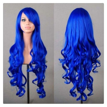 Women New Fashion Women Girl 80cm Wavy Curly Long Hair Full Cosplay Party Sexy Lolita wig Blue