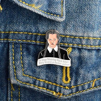 Cartoon Girl Brooch The Addams Family Inspired Wednesday Pin Buckle Denim jacket Shirt Collar Lapel Pin Badge Jewelry for Girls