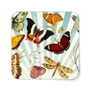 vintage butterfly collage square sticker