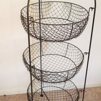 Large Kitchen Baskets, Mesh Metal Egg Baskets, Tiered Storage Fruit Basket Stand FREE US Shipping