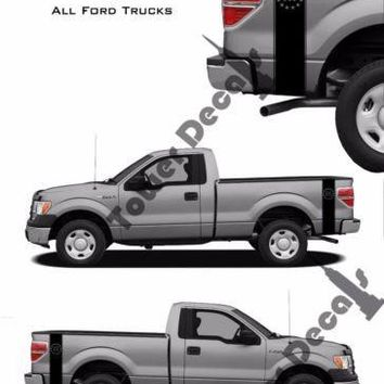 Truck Bed Side Stripes Vinyl Decals-Threeper-Fits Ford F150 F250 F350 Ranger