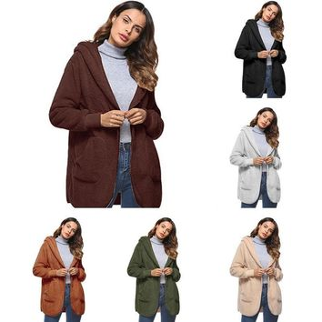 Trendy LASPERAL Fashion Open Stitch Hooded Coat New Year Spring Faux Fur Teddy Bear Coat Jacket Women Female Long Sleeve Fuzzy Jacket AT_94_13
