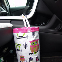Car Trash Bag - Hooty Owl Candy Pink and Chartreuse - car accessories