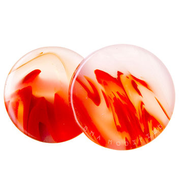 Koi Orange Glass Plugs (27mm-51mm) XL