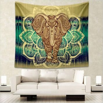 LMF9GW Indian Elephant Mandala Tapestry Wall Hanging Bedspread Throw Hippie Boho Decoration L:203*153cm M:150 *130cm New Arrival