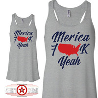 Merica F#!K Yea Flowy Tank - Racerback Patriotic Tanks Apparel For Women 4th July Tops Shirts