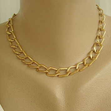 Monet Openwork Chain Necklace 16.5 Inches Goldtone Jewelry