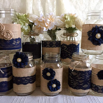 10x rustic burlap and navy blue lace covered mason jar vases wedding decoration, bridal shower, engagement, anniversary party decor