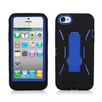 Aimo Wireless IPH5PCMX002S Guerilla Armor Hybrid Case with Kickstand for iPhone 5 - Retail Packaging - Black/Blue