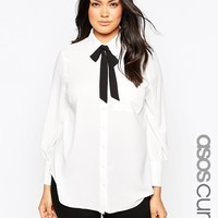 ASOS CURVE Blouse with 70's Contrast Bow at asos.com