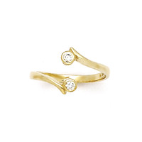 10k Yellow Gold Double Solitaire Cubic Zirconia Toe Ring | Body Candy Body Jewelry