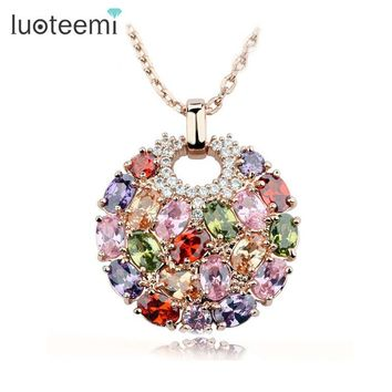 LUOTEEMI Hot Multicolor Crystal Round Necklace & Pendants for Women Rose Gold-Color Multicolor CZ Zircon Pendant Necklace