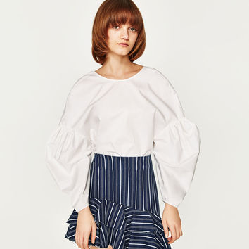 STRIPED SKIRT WITH FRILLS