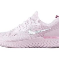 Nike Epic React Flyknit + Crystals - Pearl Pink