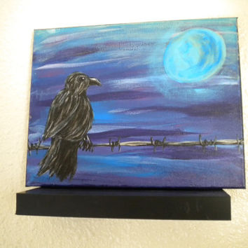 """Original Acrylic Painting on Stretched canvas- """"Solitude"""" -Crow- barbed wire- moon art- - bird painting"""